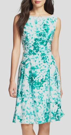 Nordstrom  Adrianna Papell Beaded Neck Floral Print Fit & Flare Dress