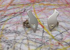 Silver bird with heart stud earring gift under by mylittleanimals, $32.00