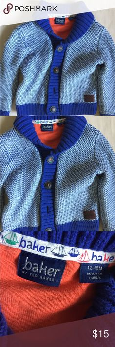 Baker by Ted Baker blue cardigan sweater 12-18 mos Adorable baby boy's blue patterned button down cotton sweater cardigan by Baker by Ted Baker London. Size 12-18 months. Good gently used condition, very slight pilling. Baker by Ted Baker Shirts & Tops Sweaters