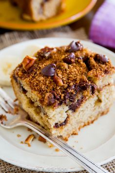 Banana Chocolate Chip Crumb Cake  Super-moist banana crumb cake layered with cinnamon, brown sugar, and chocolate chip streusel. Not one piece of this lip-smacking cake will be leftover!