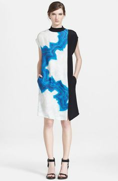 3.1 Phillip Lim Colorblock Silk Shift Dress available at #Nordstrom/ Love the style/cut/shape of this dress -- minus the blue lightning bold