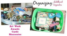 Organizing Childhood Keepsakes: deciding what to keep forever, what to display and what to throw out. 10 years worth of keepsakes stored into one tote. #lifestylecrafts