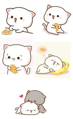 Sweet Drawings, Cute Kawaii Drawings, Cute Kawaii Animals, Kawaii Cat, Chibi Cat, Cute Chibi, Gato Anime, Cat Icon, Cute Love Pictures