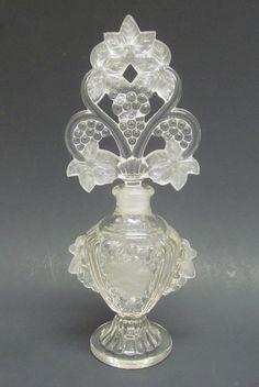 1880's Antique Belmont Grape Design Perfume Scent Bottle w/ Large Stopper Mint