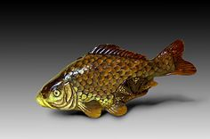 """Netsuke """"Carp among lotus leaves"""" has been carved from pressed buffalo horn, its…"""