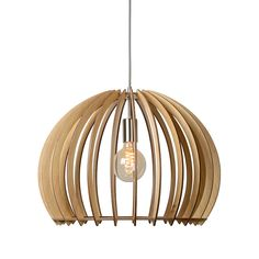 Hanglamp Bounde licht hout groot Lucide 34424-50-76