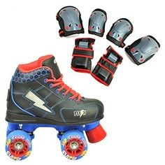 Crazy Skates Flash Blue and Black Kids Roller Skate with LED Light Up Lightning Bolt Size 11 Plus Bone Shieldz Cruiser Kids Wrist Elbow and Knee Pad Bundle * Check this awesome product by going to the link at the image. This is an Amazon Affiliate links.