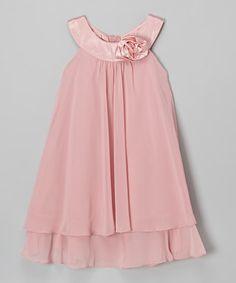 Pink Flower Yoke Dress - Toddler & Girls