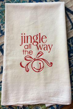Vintage Farmhouse Jingle All The Way Flour Sack Dish Towel Christmas Gift Decor Christmas Gift by TheFarmhouseShoppeCo