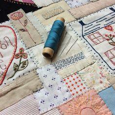 Stitching day ahead and OPEN as usual here at #jessiechorleytheshop 11-6 #jessiechorleyfriendshipquilt #jessiechorleyembroidery #patchwork #stitching #patching #runningstitch #couchingstitches #vintagefabrics www.jessiechorley.com