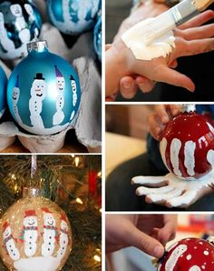 DIY Handprint Christmas Ornaments - Easy Christmas Keepsake Crafts For Kids To Make - Clever DIY Ideas <br> Cute Fingerprint Snowman Ornaments For Toddlers and Preschoolers To Make For Gifts or as a Keepsake Decoration For Your Christmas Tree Kids Christmas Ornaments, Handmade Christmas Tree, Diy Christmas Videos, Handmade Christmas Decorations, Christmas Crafts For Gifts, Preschool Christmas, Simple Christmas, Christmas Diy, Snowman Ornaments
