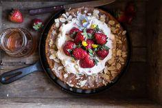 Almond Honey Cake with Strawberry Ripple Cream | halfbakedharvest.com @hbharvest