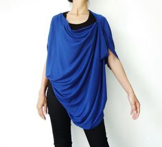 NO.60    Royal Blue Cotton Jersey Origami Top by JoozieCotton, $35.00