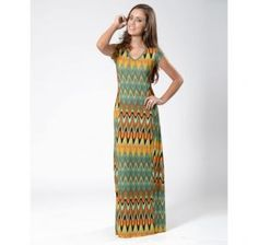 vestido longo estampado com manga curta - Pesquisa Google