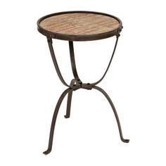 Rustic Slats Wood and Metal Side Table - between the two chairs
