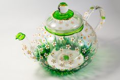 Glass Teapot with Infuser, Tea kettle Floral tea pot, Daisies teapot for women Hostess gift by Vitraaze on Etsy