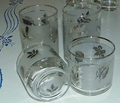 Lot of 4 Vintage Libbey's Frosted Silver Leaf Pattern 2 Juice 2 Tumblers Glasses | eBay