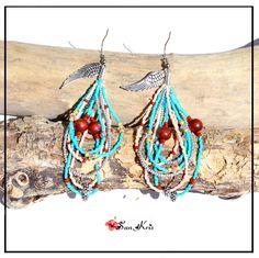 Boucles d'oreilles Ethniques perles, Turquoise Saumon Marron Argenté, perles Miyuki, bijoux femmes, bohème : Boucles d'oreille par sunkris