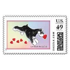 Schnauzer Valentine Heart Stamp on Zazzle - Lori_Bush_Art   #zazzle #schnauzer #minischnauzer #blackandsilverschnauzer #valentinestamp #valentineschnauzer