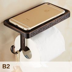 Free Shipping Toilet Roll Paper Holder with Mobile Phone Rack Wall Mounted No Cover Space Bathroom Accessories