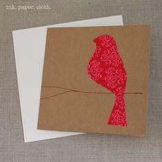 christmas card bird-christmas, card, bird, kraft, linen