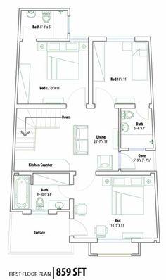 Ground floor plan 1 kanal lahore 1035 1600 pakistan house plans pinterest for Pakistan house designs floor plans