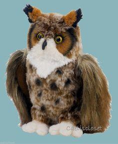 "Douglas Einstein GREAT HORNED OWL 10"" Plush Stuffed Bird Animal Cuddle Toy NEW #DouglasCuddleToy"