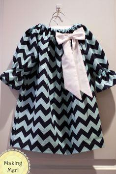 Blue Tone on Tone Chevron Peasant Dress with White Bow Baby Toddler Girls. $35.00, via Etsy.
