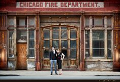 vintage chicago fire department photographs engagement by Miller and Miller
