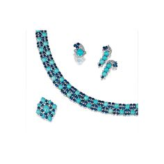 Turquoise, sapphire and diamond parure, 1970s Comprising: a flexible necklace; a pair of pendent ear clips; a brooch/pendant; and a ring, all set with cabochon turquoise, oval sapphires and brilliant-cut diamonds, mounted in white gold, necklace length approximately 340mm, ring size 47.  Lot   Sotheby's