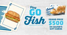 I just played Culver's Go Fish Sweepstakes for a chance to win $500 in Culver's Gift Cards. Feeling lucky? Play and see if you get a match!