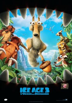 """Ice Age: Dawn of the Dinosaurs on DVD October 2009 starring Ray Romano, John Leguizamo, Denis Leary, Queen Latifah. The sub-zero heroes from the worldwide blockbusters """"Ice Age"""" and """"Ice Age: The Meldown"""" are back, on an incredible adventure. Dinosaur Movie, Dinosaur Posters, Dinosaur Eggs, Dino Eggs, Queen Latifah, Disney Pixar, Em Breve Nos Cinemas, Ice Age 4, Ice Age Movies"""