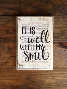 It is Well with my Soul Hymn Board - hand lettered wood sign by ImperfectDust on Etsy https://www.etsy.com/listing/220034718/it-is-well-with-my-soul-hymn-board-hand