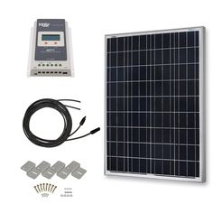 HQST 100 Watt 12 Volt Polycrystalline Solar Panel Kit with 40A MPPT Charge Controller