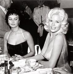 Sophia Lauren looking down on Jayne Mansfield's swooping, um, neckline.