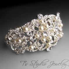 Pearl and Crystal Bridal Cuff Bracelet with Rhinestone Focal - from T's Studio Jewelry