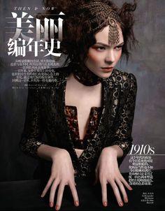 Kinga Rajzak | Jacket, bustier and choker by Alexander McQueen, headpiece by Slim Barrett | Photog: David Dunan | Vogue (China) May 2013