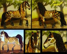 This was once Schleich Frisian stallion, until I discovered dolldivine.com ! With the Fantasy Horse Maker you can create strange and wonderful colors on a horse. I decided to paint these on a Schleich model, so here's the result on one!