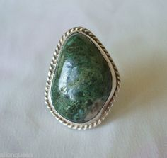 Big Vintage Mexico 925 Sterling Silver Green Variscite Ring, Size 4.75 | eBay