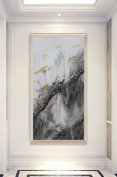New Chinese ink embossed abstract landscape bird porch decorative painting Wedding Stage Design, Modern Entrance, New Chinese, Gold Marble, Relief, Oil Painting Abstract, Nordic Style, Sign Design, Abstract Landscape