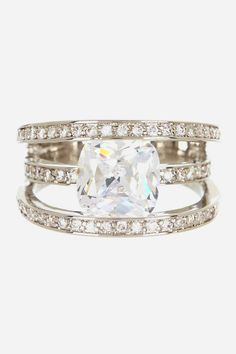 Triple Pave CZ Row Cushion Cut CZ Stone Ring