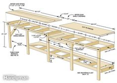 Garage bench plans fresh affordable modular workbench the family handyman with designs for free fami . Workbench Designs, Diy Workbench, Industrial Workbench, Garage Workbench Plans, Mobile Workbench, Woodworking Bench Plans, Woodworking Projects, Wood Projects, Teds Woodworking