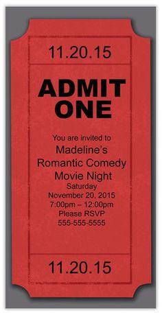 New party summer invitation movie nights Ideas Movie Night Party, Movie Theater Party, Cinema Party, Game Night, Outdoor Movie Nights, Hollywood Party, Birthday Invitations, Ticket Invitation, Movie Party Invitations