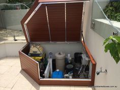 Pool Filter Enclosure Ideas pool pump box pool pump box Husband Built A Nice Wooden Slatted Box To Cover Our Pool Pump Top Removable Front Hinged For Easy Access Love Gardening Pinterest