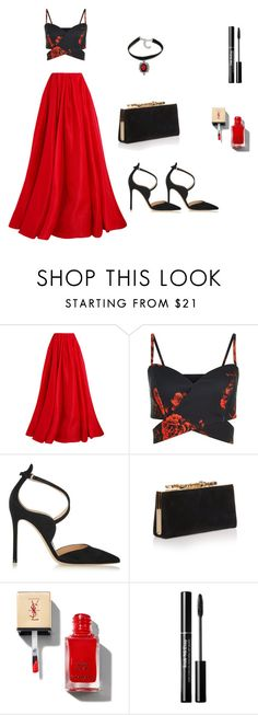 """""""Red velvet"""" by ustine on Polyvore featuring moda, Reem Acra, Gianvito Rossi i Jimmy Choo"""