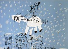 Svatý Martin na bílém koni. Vytvořili předškoláci v našem výtvarném studiu. Tuš, bílá pastelka. Studios, Snoopy, Fictional Characters, Fantasy Characters
