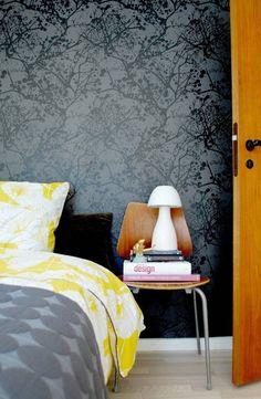 Tapeten im Schlafzimmer-grau schattierungen-gemustert