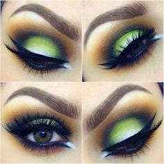 braune Augen, falsche Wimpern, grüne Lidschatten