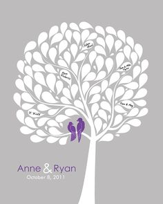 Wedding guest book alternative- A Tree poster! With love birds! So Adorable! Made by fancyprints on etsy.