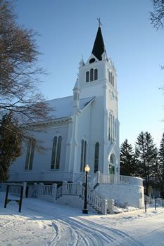 Historic Ste. Anne Catholic Church on Mackinac Island, Michigan. The inside of this old church is worth the stop!